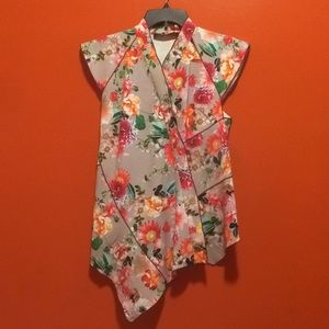 Floral Asymmetrical Tranquility Blouse